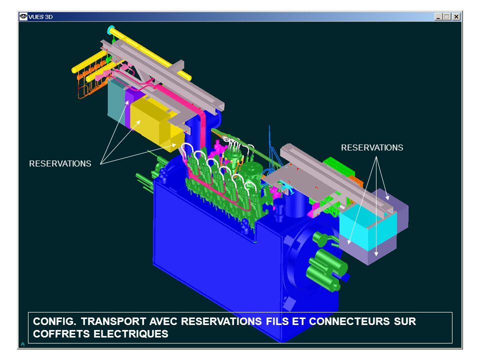 CONFIG. TRANSPORT AVEC RESERVATIONS FILS ET CONNECTEURS SUR COFFRETS ELECTRIQUES RESERVATIONS