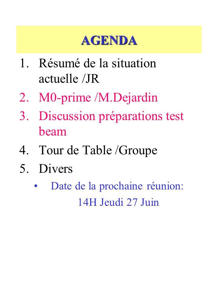 AGENDA 1.Résumé de la situation actuelle /JR 2.M0-prime /M.Dejardin 3.Discussion préparations test beam 4.Tour de Table /Groupe 5.Divers Date de la prochaine réunion: 14H Jeudi 27 Juin