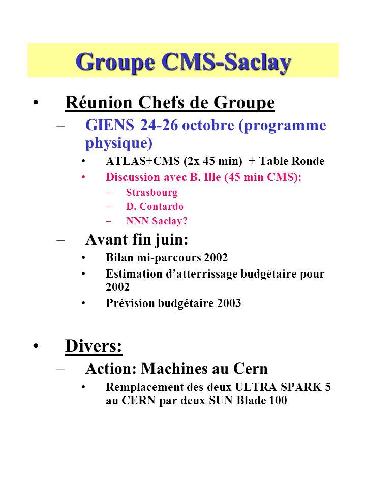 Groupe CMS-Saclay Réunion Chefs de Groupe –GIENS 24-26 octobre (programme physique) ATLAS+CMS (2x 45 min) + Table Ronde Discussion avec B.