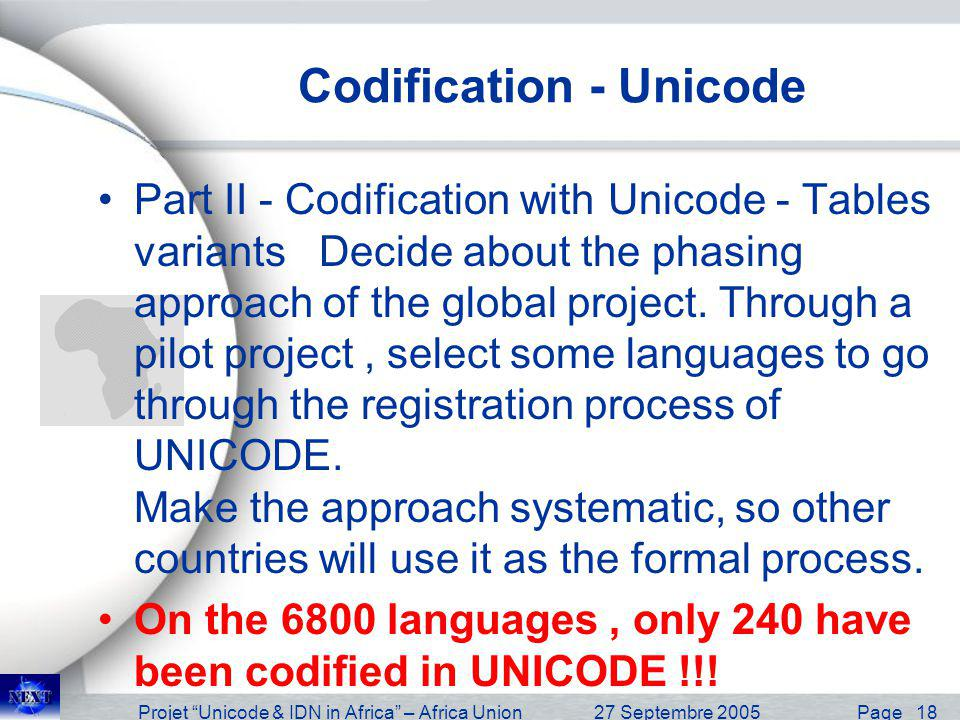 Projet Unicode & IDN in Africa – Africa Union27 Septembre 2005 Page 18 Codification - Unicode Part II - Codification with Unicode - Tables variants De
