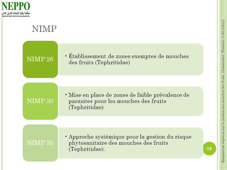 Symposium régional sur la gestion des mouches des fruits, Hammamet (Tunisie): 6-8/11/2012 NIMP Établissement de zones exemptes de mouches des fruits (