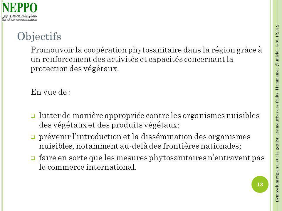 Symposium régional sur la gestion des mouches des fruits, Hammamet (Tunisie): 6-8/11/2012 Objectifs Promouvoir la coopération phytosanitaire dans la r