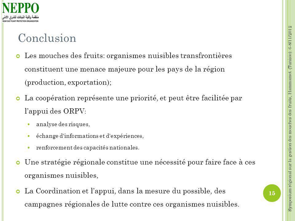 Symposium régional sur la gestion des mouches des fruits, Hammamet (Tunisie): 6-8/11/2012 Conclusion Les mouches des fruits: organismes nuisibles tran