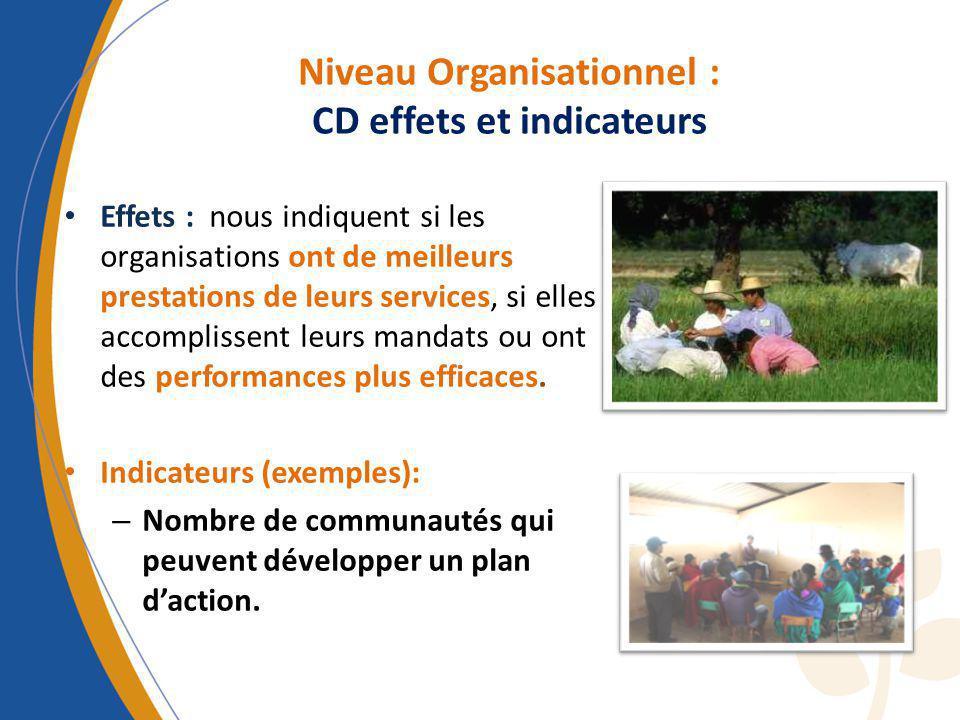 Effets : nous indiquent si les organisations ont de meilleurs prestations de leurs services, si elles accomplissent leurs mandats ou ont des performan