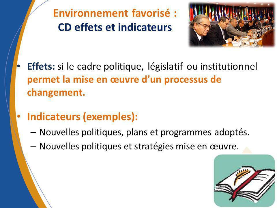 Effets: si le cadre politique, législatif ou institutionnel permet la mise en œuvre dun processus de changement. Indicateurs (exemples): – Nouvelles p