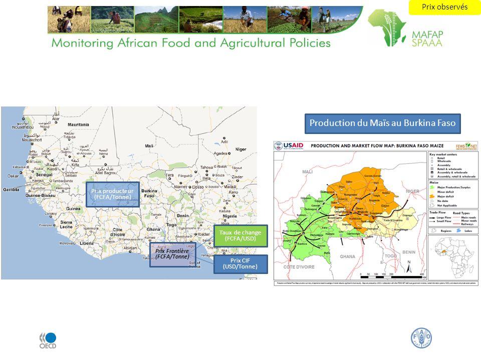Prix CIF (USD/Tonne) Taux de change (FCFA/USD) Prix Frontière (FCFA/Tonne) Prix producteur (FCFA/Tonne) Production du Maïs au Burkina Faso Prix observ