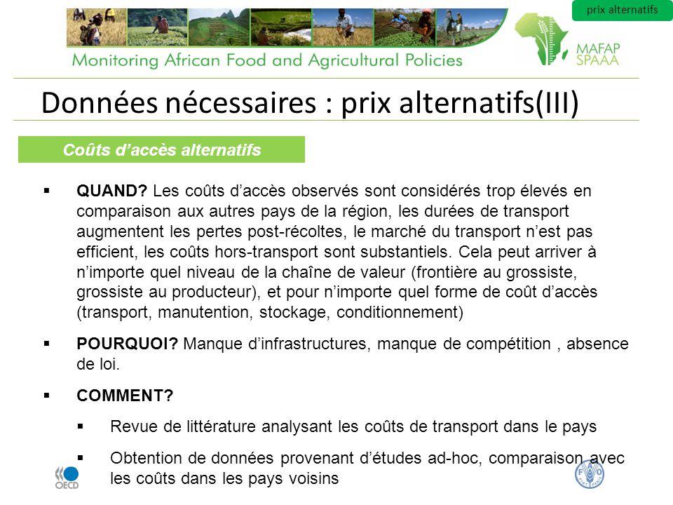 Données nécessaires : prix alternatifs(III) Coûts daccès alternatifs QUAND.