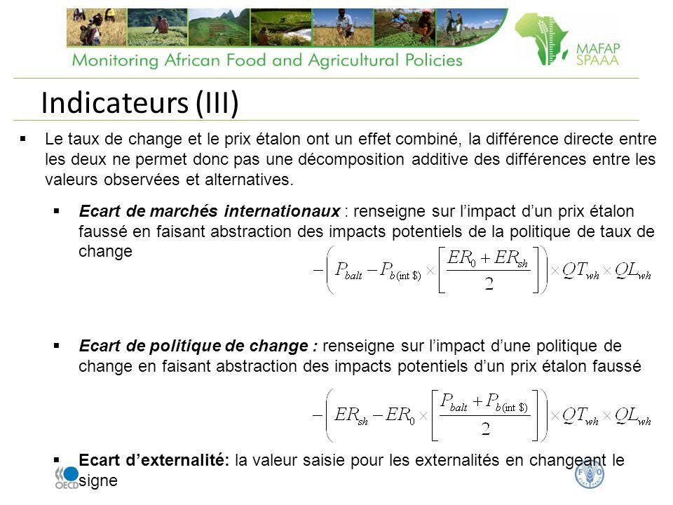 Indicateurs (III) Le taux de change et le prix étalon ont un effet combiné, la différence directe entre les deux ne permet donc pas une décomposition additive des différences entre les valeurs observées et alternatives.