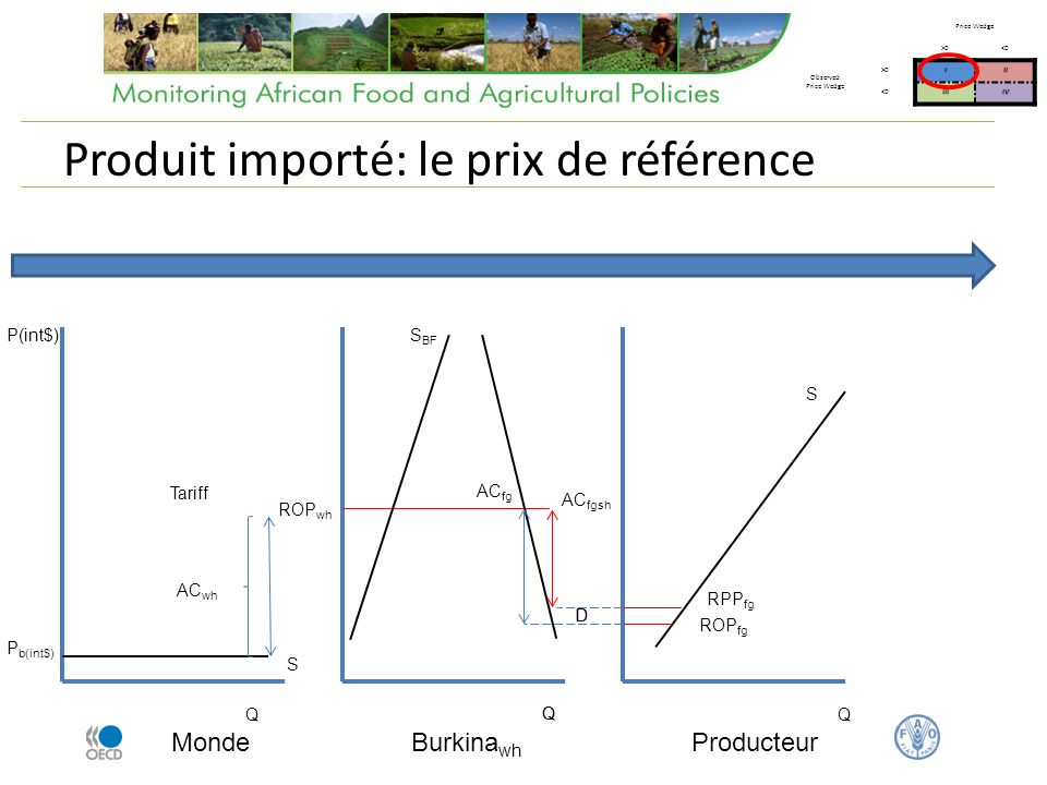 Produit importé: le marché local Burkina wh AC fg Producteur Q Q S BF P dfg D P dwh S Price Wedge >0<0 Observed Price Wedge >0III <0IIIIV