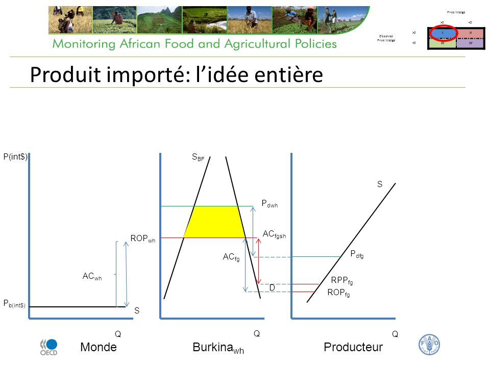 Produit importé: lidée entière Monde Q P(int$) P b(int$) Burkina wh AC wh ROP wh AC fg Producteur Q Q S BF ROP fg D S S P dwh P dfg AC fgsh RPP fg Price Wedge >0<0 Observed Price Wedge >0III <0IIIIV