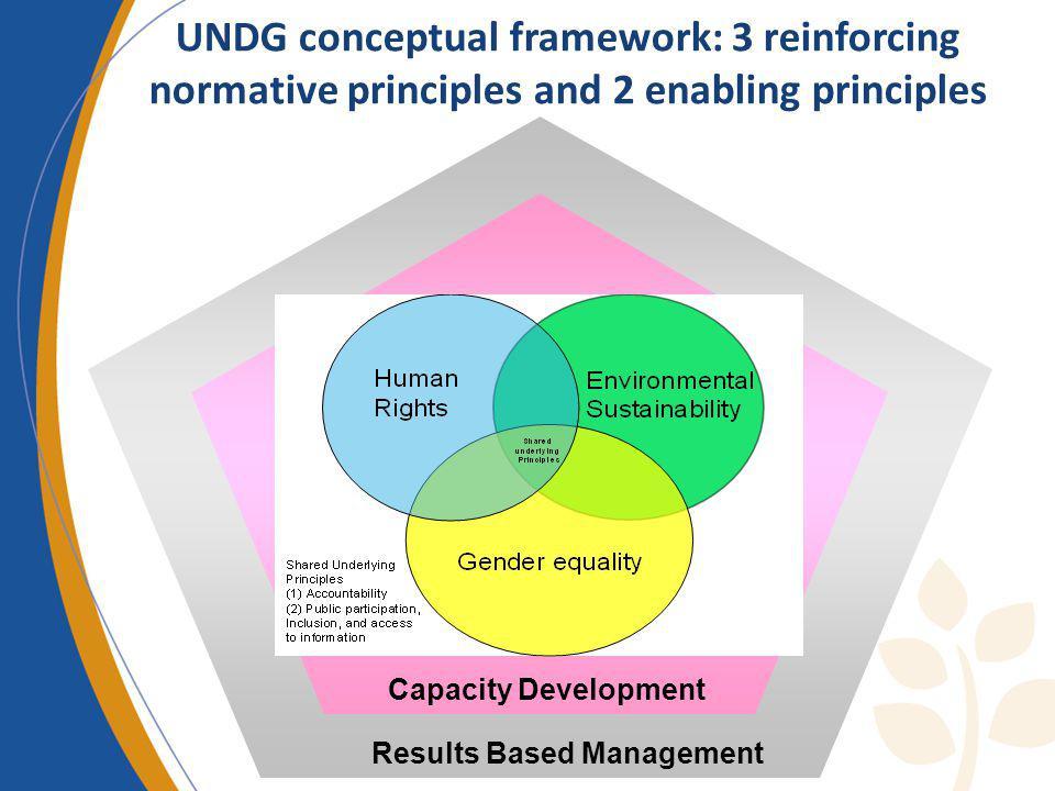 UNDG conceptual framework: 3 reinforcing normative principles and 2 enabling principles Results Based Management Capacity Development
