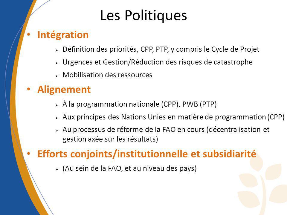 Les Politiques Intégration Définition des priorités, CPP, PTP, y compris le Cycle de Projet Urgences et Gestion/Réduction des risques de catastrophe M