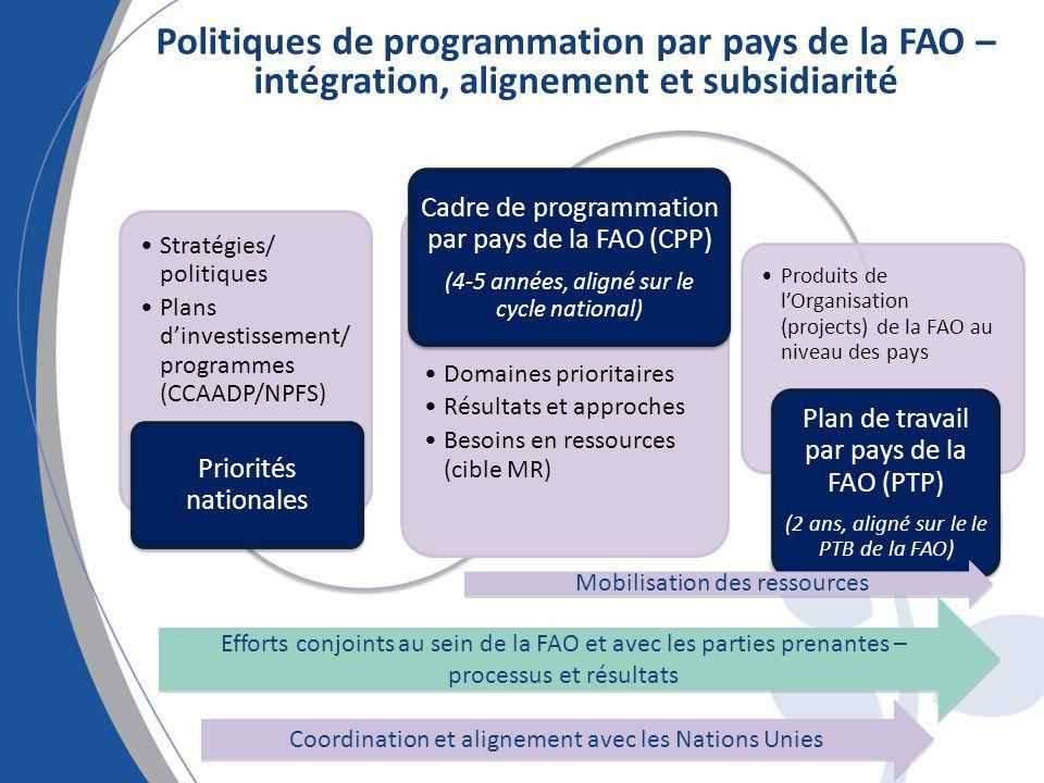 Politiques de programmation par pays de la FAO – intégration, alignement et subsidiarité Stratégies/ politiques Plans dinvestissement/ programmes (CCA