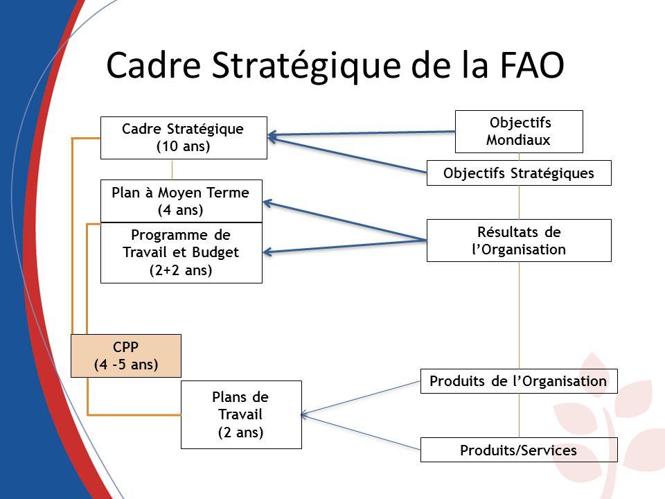 Cadre Stratégique de la FAO Résultats de lOrganisation Objectifs Stratégiques Objectifs Mondiaux Cadre Stratégique (10 ans) Plan à Moyen Terme (4 ans)