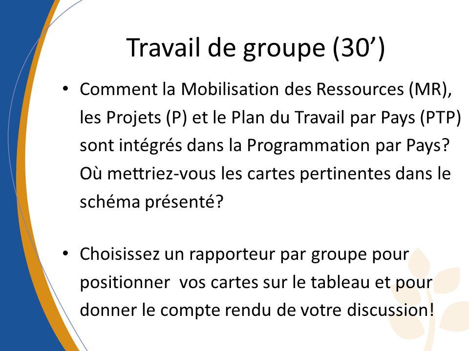 Travail de groupe (30) Comment la Mobilisation des Ressources (MR), les Projets (P) et le Plan du Travail par Pays (PTP) sont intégrés dans la Program