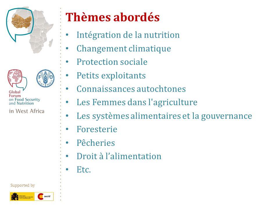 Supported by Thèmes abordés Intégration de la nutrition Changement climatique Protection sociale Petits exploitants Connaissances autochtones Les Femm