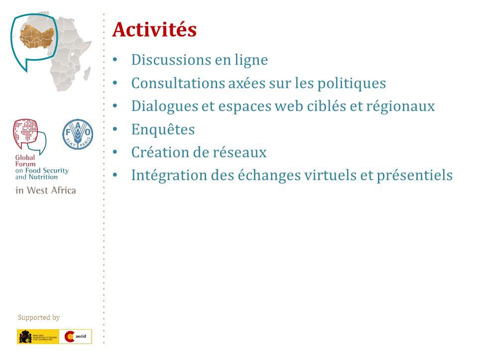 Supported by Activités Discussions en ligne Consultations axées sur les politiques Dialogues et espaces web ciblés et régionaux Enquêtes Création de r