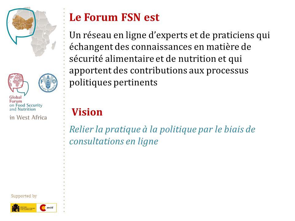 Supported by Le Forum FSN est Un réseau en ligne dexperts et de praticiens qui échangent des connaissances en matière de sécurité alimentaire et de nutrition et qui apportent des contributions aux processus politiques pertinents Vision Relier la pratique à la politique par le biais de consultations en ligne