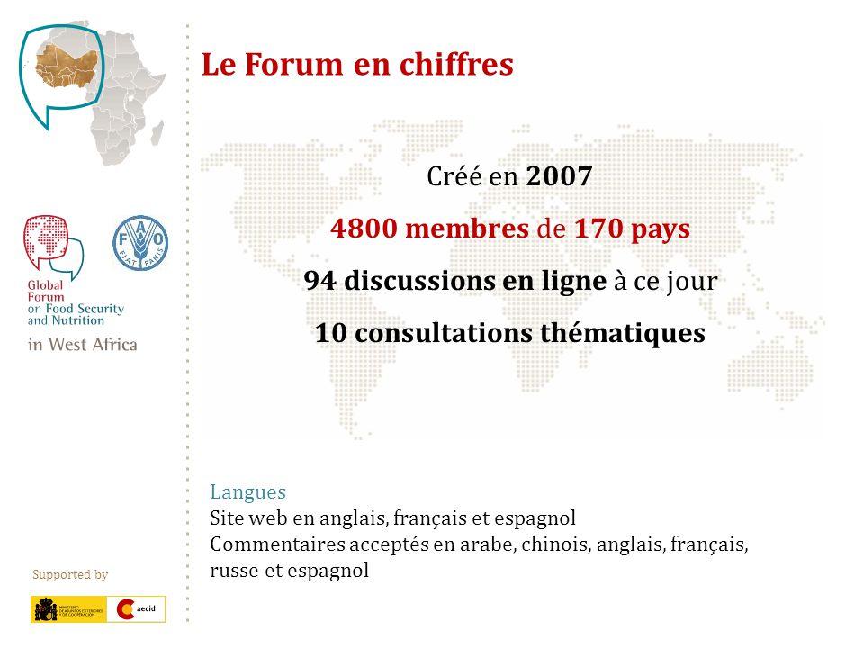 Supported by Créé en 2007 4800 membres de 170 pays 94 discussions en ligne à ce jour 10 consultations thématiques Le Forum en chiffres Langues Site we