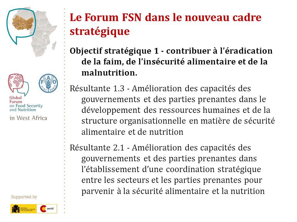 Supported by Le Forum FSN dans le nouveau cadre stratégique Objectif stratégique 1 - contribuer à léradication de la faim, de linsécurité alimentaire et de la malnutrition.