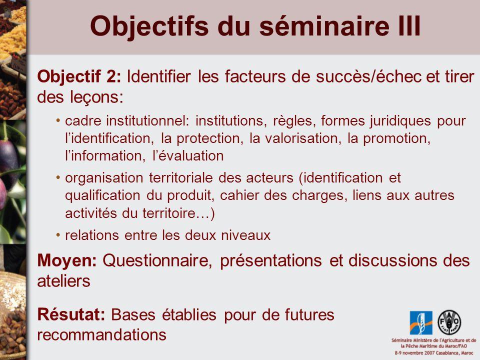 Objectifs du séminaire III Objectif 2: Identifier les facteurs de succès/échec et tirer des leçons: cadre institutionnel: institutions, règles, formes