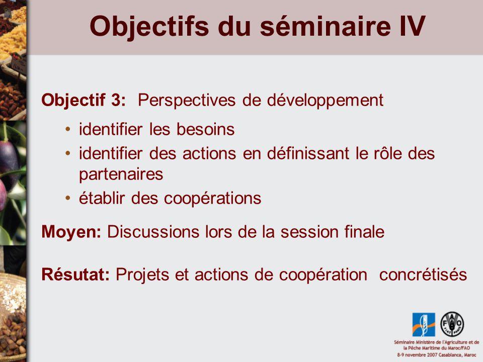 Objectifs du séminaire IV Objectif 3:Perspectives de développement identifier les besoins identifier des actions en définissant le rôle des partenaires établir des coopérations Moyen: Discussions lors de la session finale Résutat: Projets et actions de coopération concrétisés