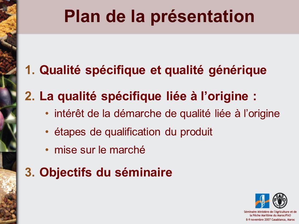Plan de la présentation 1.Qualité spécifique et qualité générique 2.La qualité spécifique liée à lorigine : intérêt de la démarche de qualité liée à lorigine étapes de qualification du produit mise sur le marché 3.Objectifs du séminaire