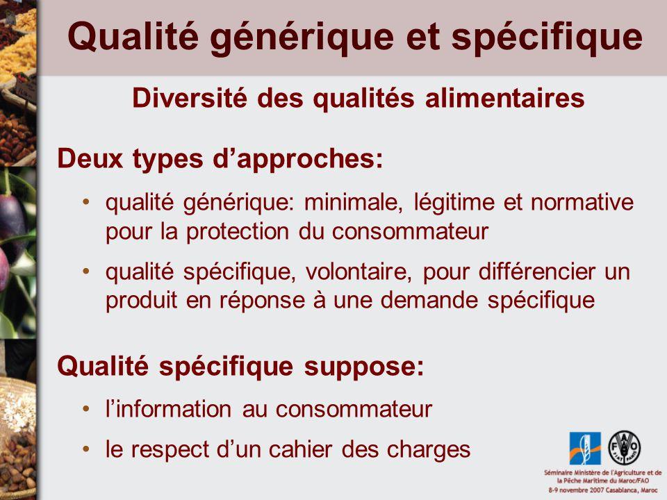 Qualité générique et spécifique Diversité des qualités alimentaires Deux types dapproches: qualité générique: minimale, légitime et normative pour la