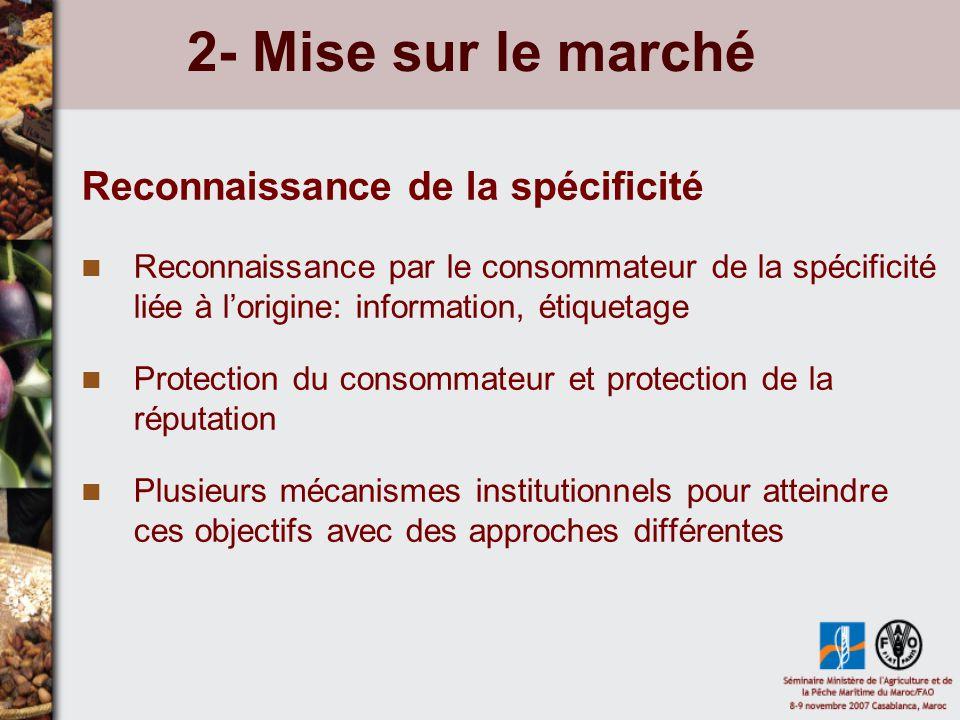 2- Mise sur le marché Reconnaissance de la spécificité Reconnaissance par le consommateur de la spécificité liée à lorigine: information, étiquetage P