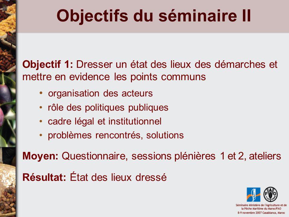 Objectifs du séminaire II Objectif 1: Dresser un état des lieux des démarches et mettre en evidence les points communs organisation des acteurs rôle d