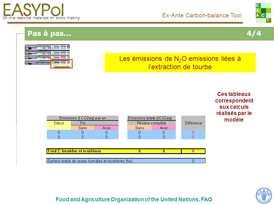 On-line resource materials for policy making Ex-Ante Carbon-balance Tool Food and Agriculture Organization of the United Nations, FAO Pas à pas...4/4