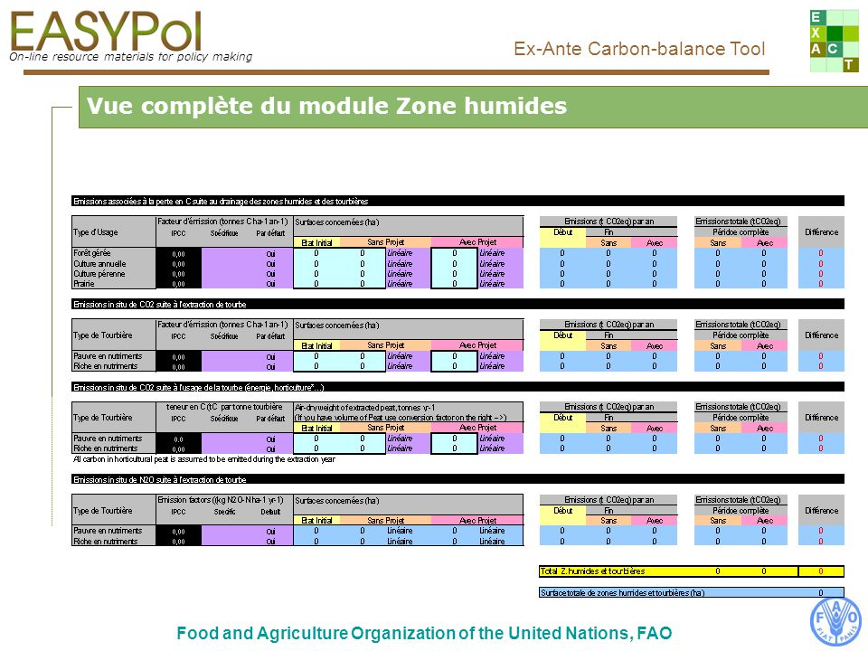 On-line resource materials for policy making Ex-Ante Carbon-balance Tool Food and Agriculture Organization of the United Nations, FAO Comment le remplir...