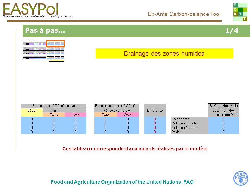On-line resource materials for policy making Ex-Ante Carbon-balance Tool Food and Agriculture Organization of the United Nations, FAO Glossary On-line resource materials for policy making Ex-Ante Carbon-balance Tool Emission factor: normalized coefficient that allows for calculating the emission fluxes of GHG Carbon sink: system that absorb naturally a part of the CO 2 emitted in the atmosphere and store carbon during a more or less long term Carbon balance: should be considered, for a specific project (or scenario of action) in comparison with a reference, as the net balance of all GHG emissions expressed in CO 2 equivalent (sources and sinks) with the atmosphere interface and the net change in C stocks (biomass, soil…).