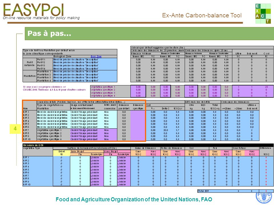 On-line resource materials for policy making Ex-Ante Carbon-balance Tool Food and Agriculture Organization of the United Nations, FAO Pas à pas... 4