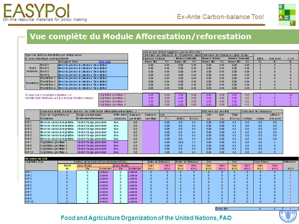 On-line resource materials for policy making Ex-Ante Carbon-balance Tool Food and Agriculture Organization of the United Nations, FAO Vue complète du