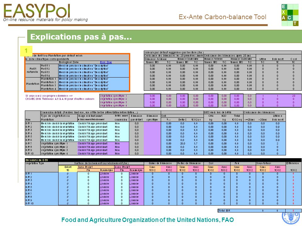 On-line resource materials for policy making Ex-Ante Carbon-balance Tool Food and Agriculture Organization of the United Nations, FAO Cette table présente les calculs intermédaires réalisés par loutil Pas à pas...7/7 Calculs réalisés par loutil
