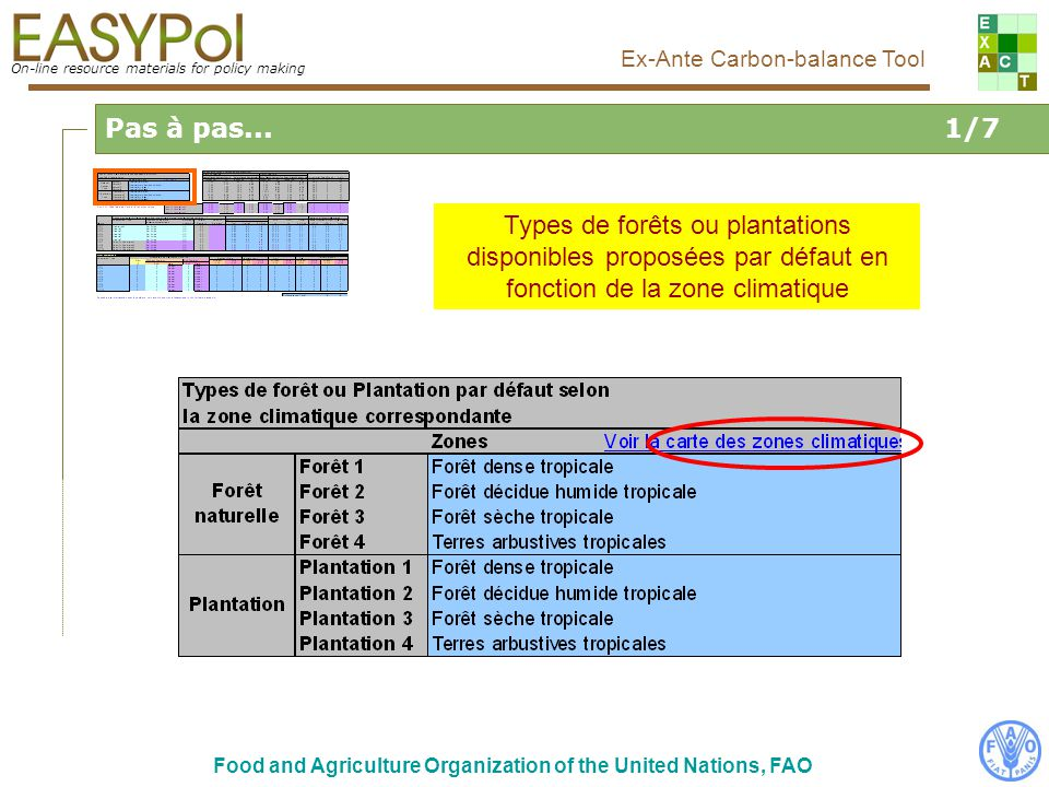 On-line resource materials for policy making Ex-Ante Carbon-balance Tool Food and Agriculture Organization of the United Nations, FAO Pas à pas...1/7 Types de forêts ou plantations disponibles proposées par défaut en fonction de la zone climatique