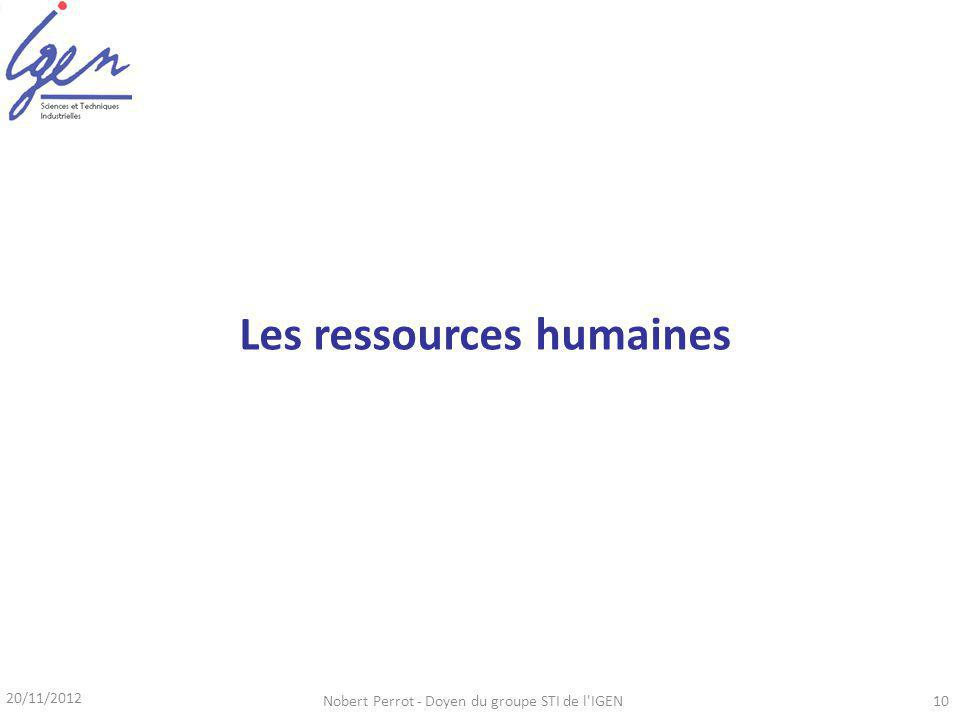 20/11/2012 Nobert Perrot - Doyen du groupe STI de l IGEN10 Les ressources humaines