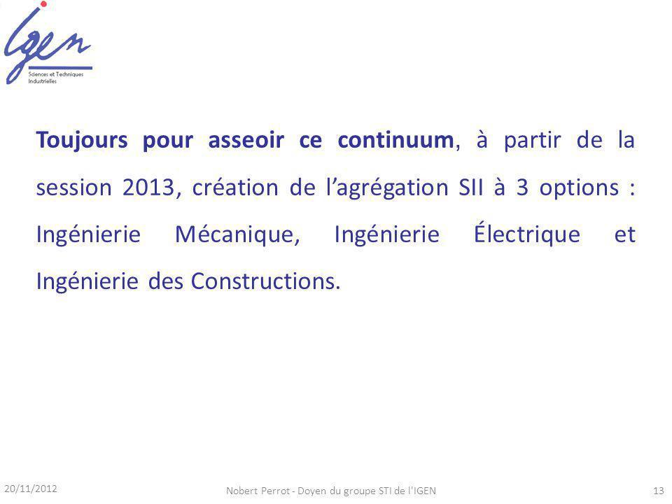 20/11/2012 Nobert Perrot - Doyen du groupe STI de l IGEN13 Toujours pour asseoir ce continuum, à partir de la session 2013, création de lagrégation SII à 3 options : Ingénierie Mécanique, Ingénierie Électrique et Ingénierie des Constructions.