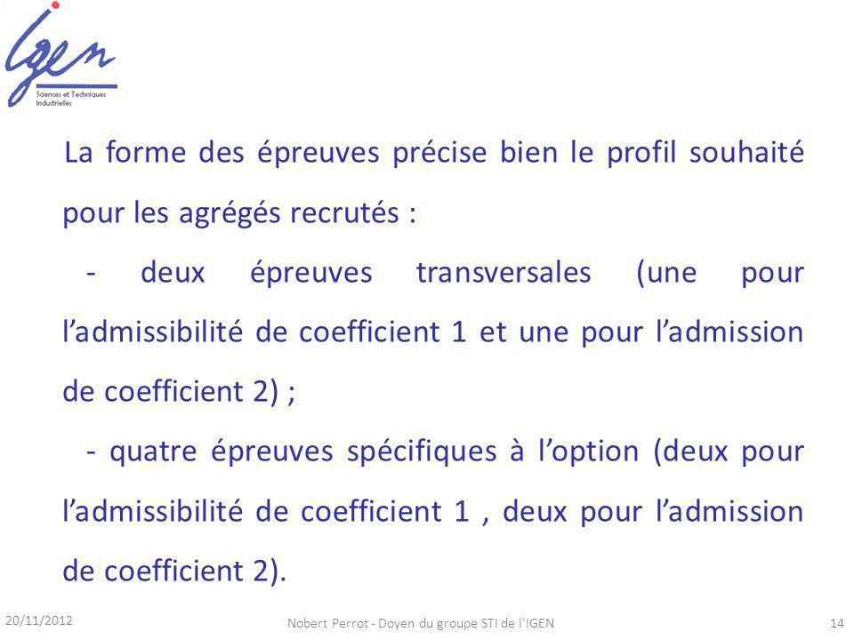 La forme des épreuves précise bien le profil souhaité pour les agrégés recrutés : - deux épreuves transversales (une pour ladmissibilité de coefficient 1 et une pour ladmission de coefficient 2) ; - quatre épreuves spécifiques à loption (deux pour ladmissibilité de coefficient 1, deux pour ladmission de coefficient 2).