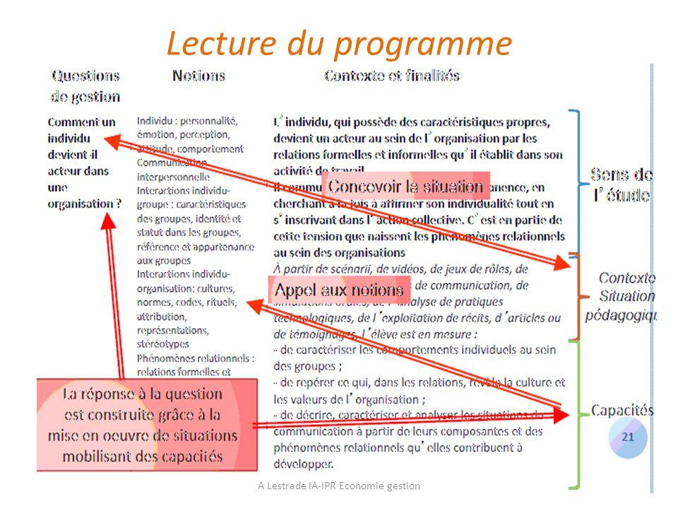 Lecture du programme A Lestrade IA-IPR Economie gestion