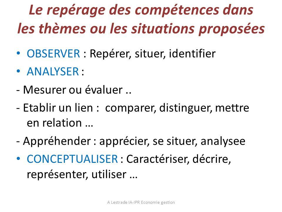 Le repérage des compétences dans les thèmes ou les situations proposées OBSERVER : Repérer, situer, identifier ANALYSER : - Mesurer ou évaluer.. - Eta