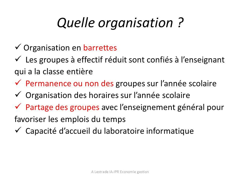 Quelle organisation ? Organisation en barrettes Les groupes à effectif réduit sont confiés à lenseignant qui a la classe entière Permanence ou non des