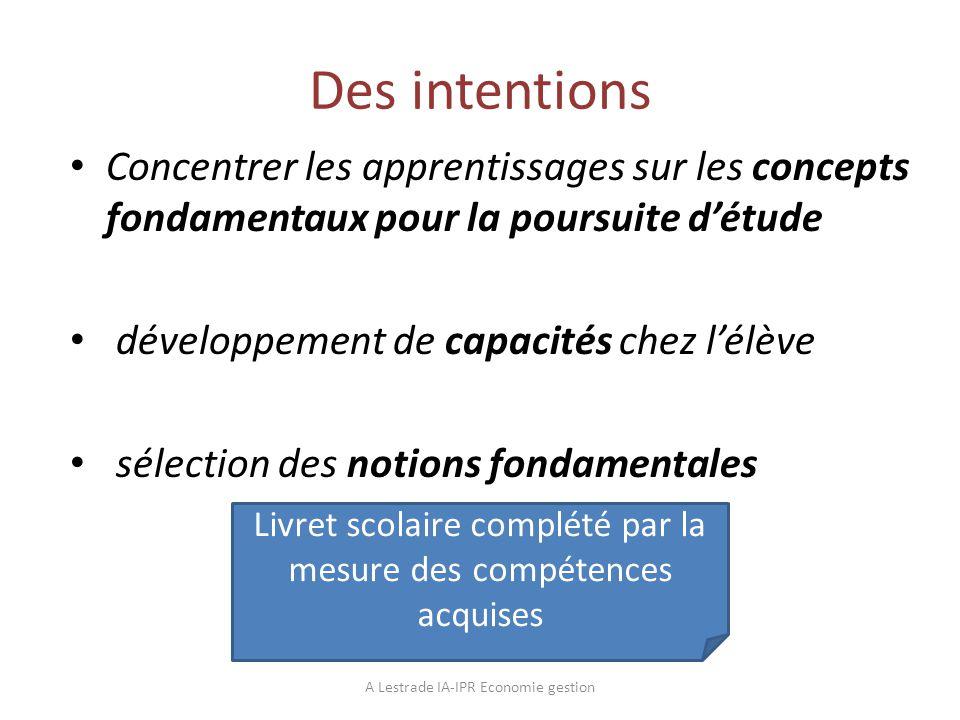 Des intentions Concentrer les apprentissages sur les concepts fondamentaux pour la poursuite détude développement de capacités chez lélève sélection d