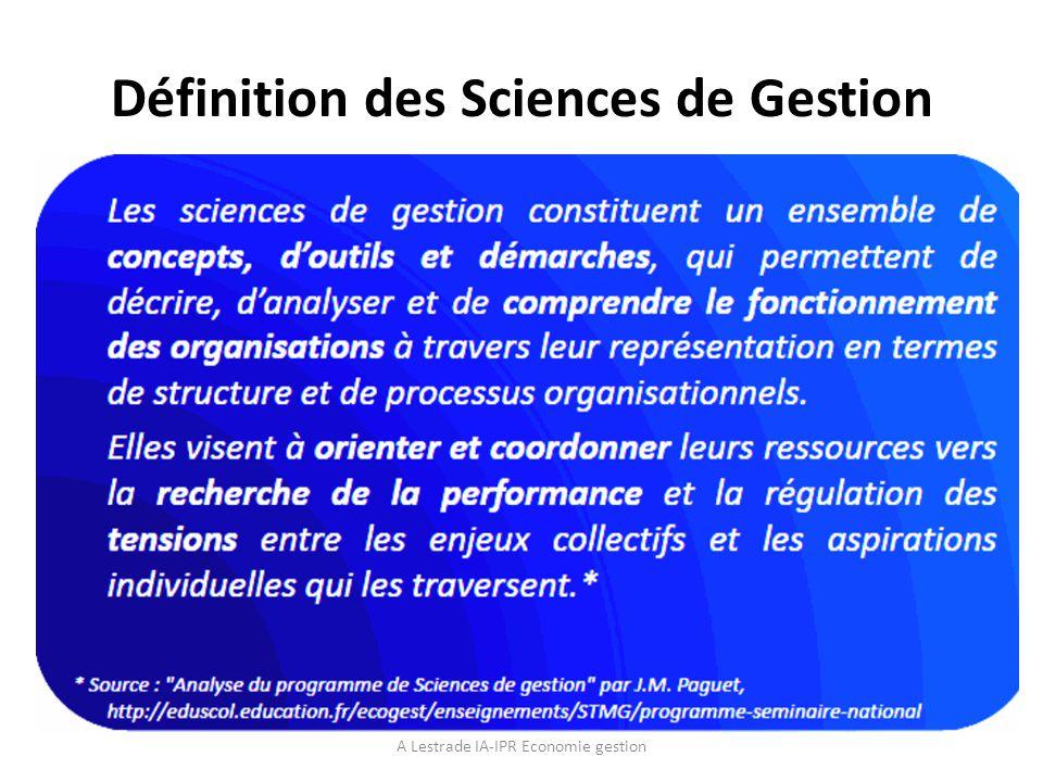 Structure du programme SDG A Lestrade IA-IPR Economie gestion