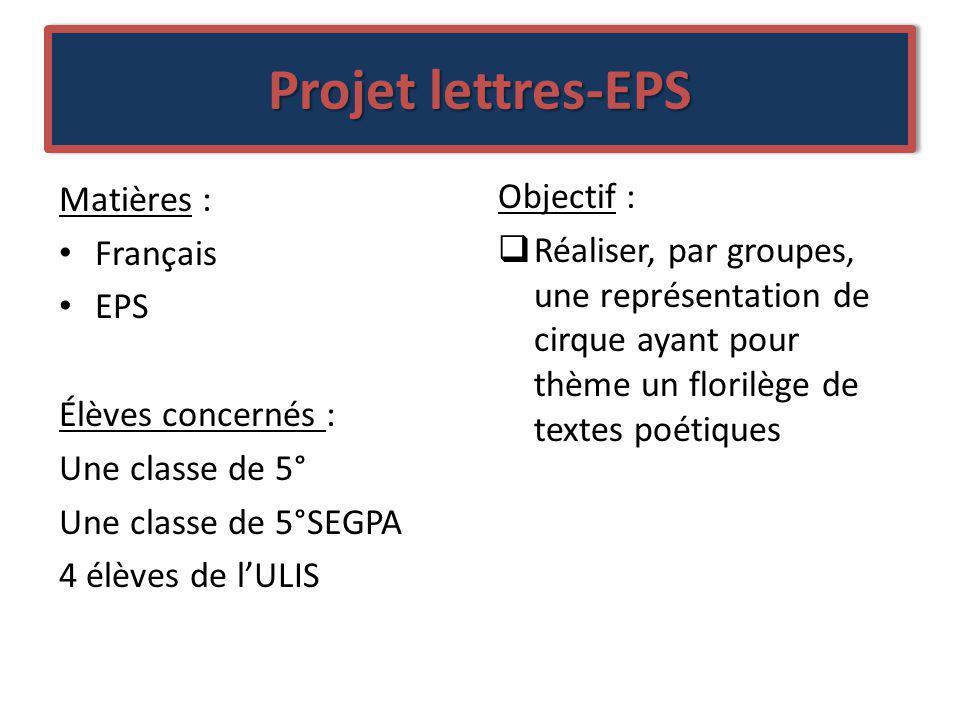 Projet lettres-EPS Matières : Français EPS Élèves concernés : Une classe de 5° Une classe de 5°SEGPA 4 élèves de lULIS Objectif : Réaliser, par groupe