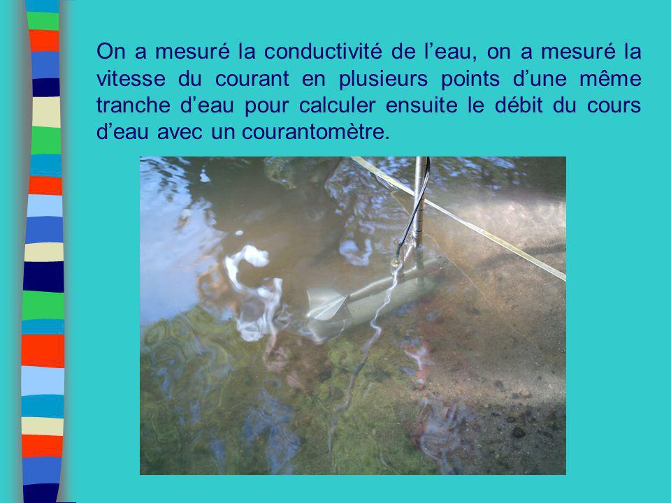 On a mesuré la conductivité de leau, on a mesuré la vitesse du courant en plusieurs points dune même tranche deau pour calculer ensuite le débit du co