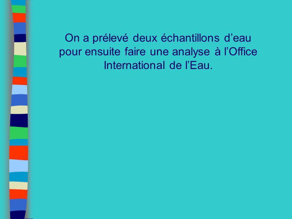 On a prélevé deux échantillons deau pour ensuite faire une analyse à lOffice International de lEau.