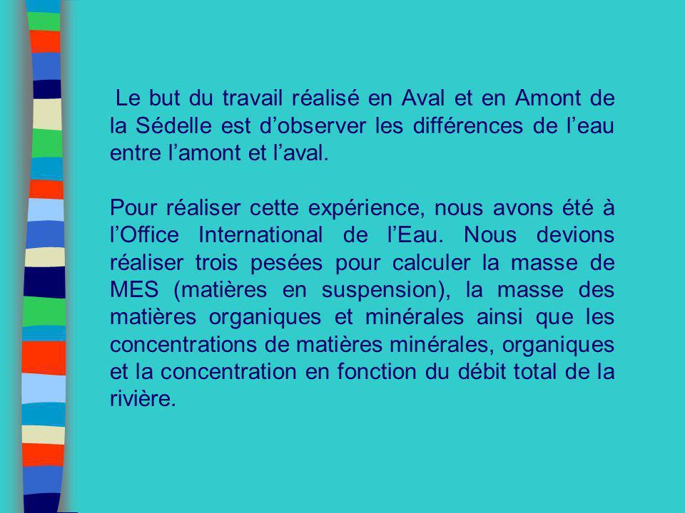 Le but du travail réalisé en Aval et en Amont de la Sédelle est dobserver les différences de leau entre lamont et laval. Pour réaliser cette expérienc