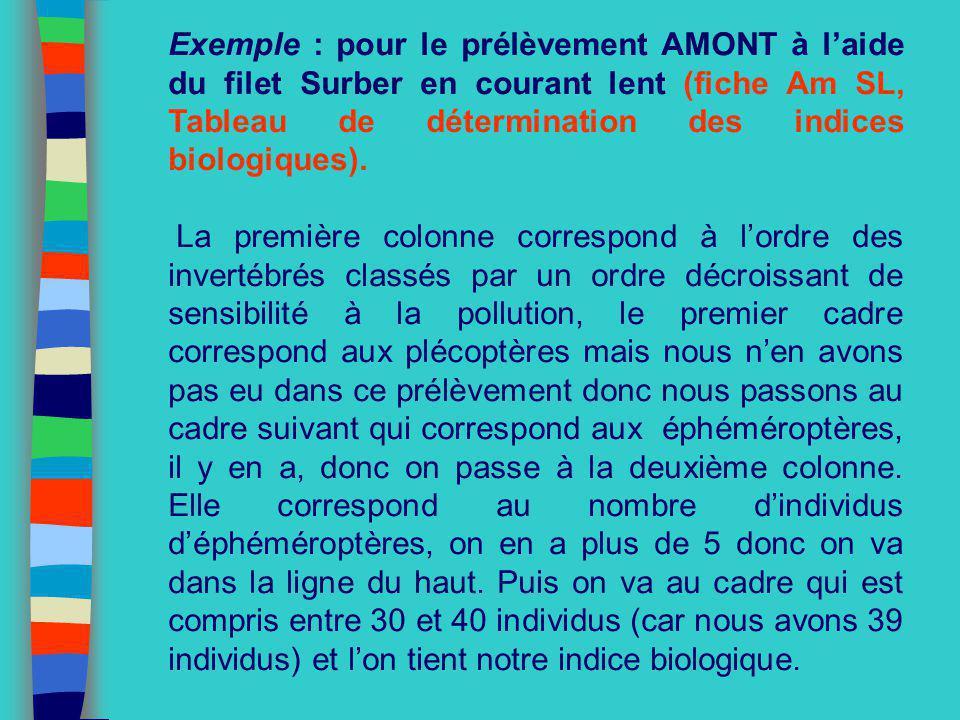 Exemple : pour le prélèvement AMONT à laide du filet Surber en courant lent (fiche Am SL, Tableau de détermination des indices biologiques). La premiè